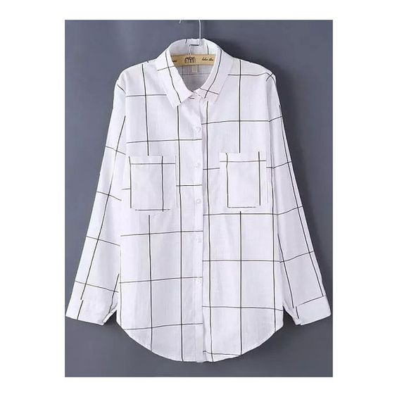 SheIn(sheinside) Lapel Plaid Checked Pockets Blouse (¥1,815) ❤ liked on Polyvore featuring tops, blouses, white, embellished long sleeve tops, embellished collar blouse, embellished tops, checkered top and white collared blouse