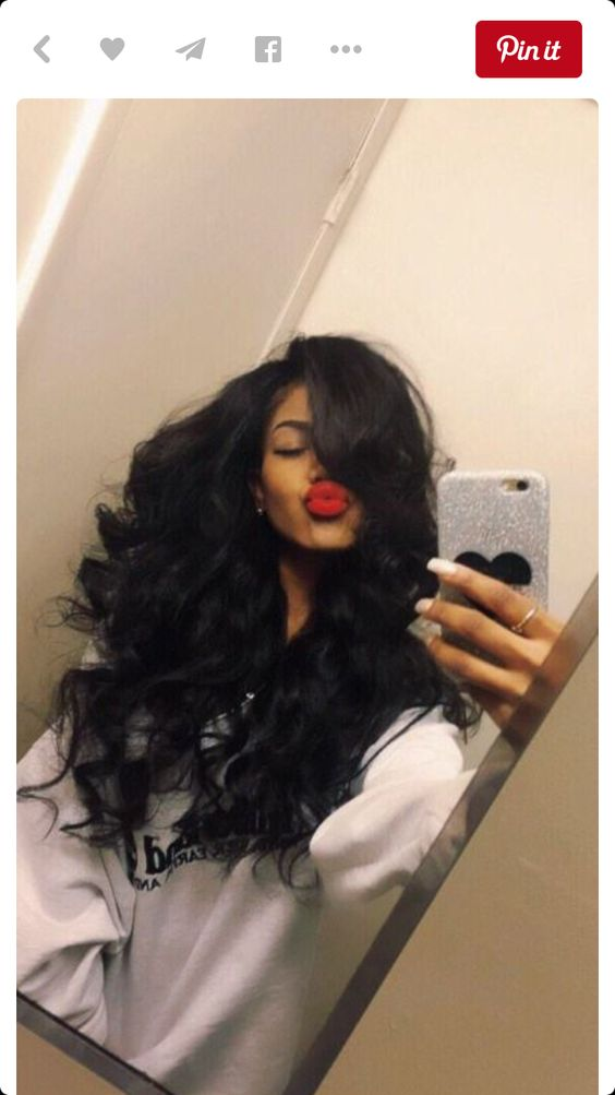 Long weave black woman - ok so its a weave but I love her confidence. BEAUTIFUL lips. A young woman having fun!
