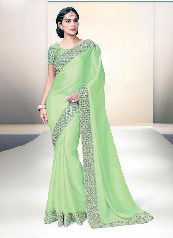 Demure Green Satin Designer Saree - Luxefashion Internet Inc