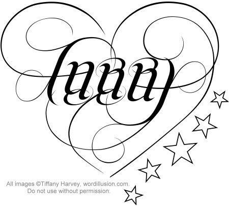 Ambigram And Stars Tattoos Design
