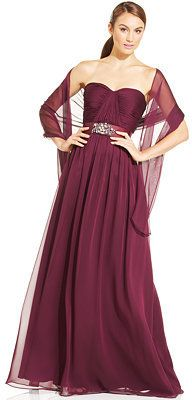 Adrianna Papell Strapless Sweetheart Gown and Shawl #papell #strapless #gown #shawl #marsala #burgundy #bridesmaid #formal