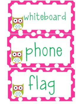 Polka dot and owl themed classroom labels!... for @Stella Barnes