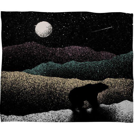 Florent Bodart Wandering Bear Fleece Throw Blanket | DENY Designs Home Accessories