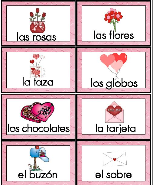 spanish word wall cards and vocabulary activities for valentine 39 s day vocabulary activities. Black Bedroom Furniture Sets. Home Design Ideas