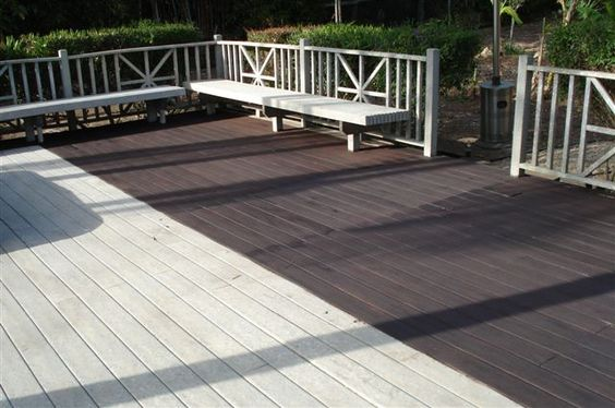 Wood stain decking and stains on pinterest for Staining trex decking
