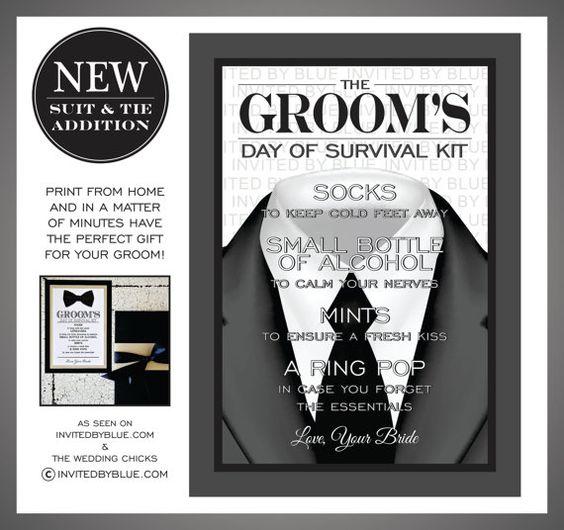 grooms survival kit digital file black tie grey suit