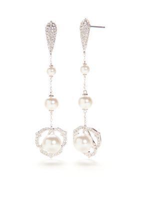 Nadri  Silver-Tone Rosaline Pearl Linear Drop Earrings
