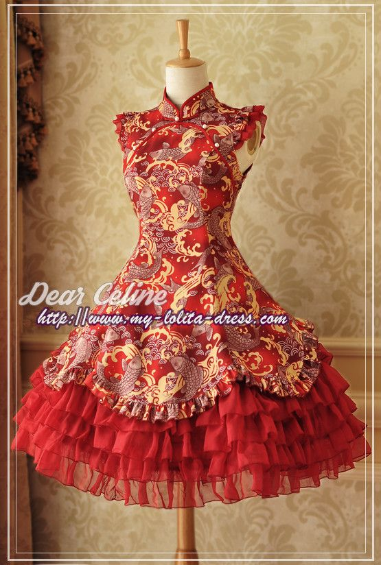 --> New Release: Dear Celine ~Koi Carp~ High Collar Qi Lolita JSK --> Learn More >>> http://www.my-lolita-dress.com/dear-celine-koi-carp-high-collar-qi-lolita-jsk-dc-66