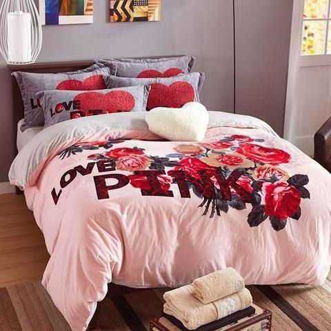 Vs Pink Winter Bedding Set Velvet Bedlinen Duvet Covers Bed Sheets
