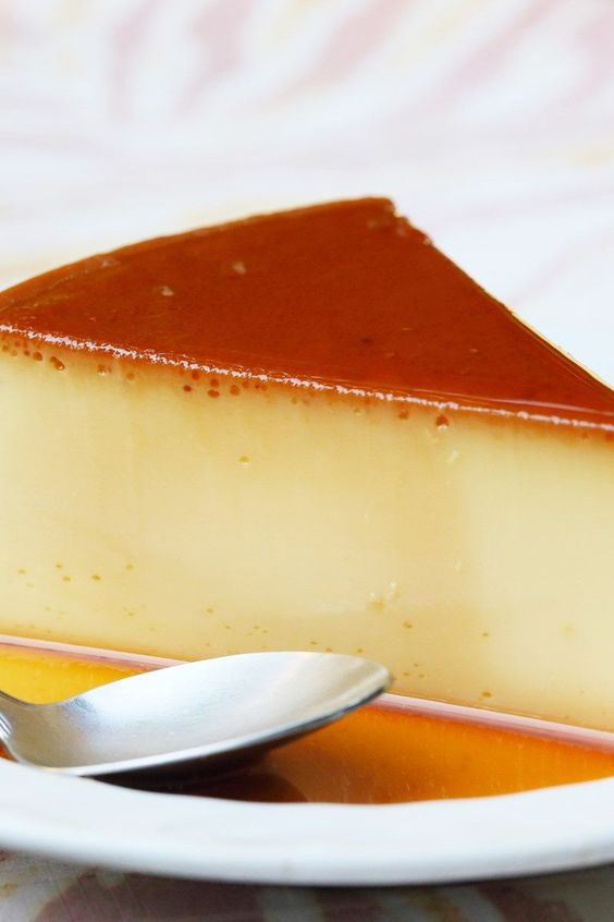 Baked Caramel Custard Flan - easy recipe made in the blender! It's super creamy with sweetened condensed milk, heavy cream, and milk.