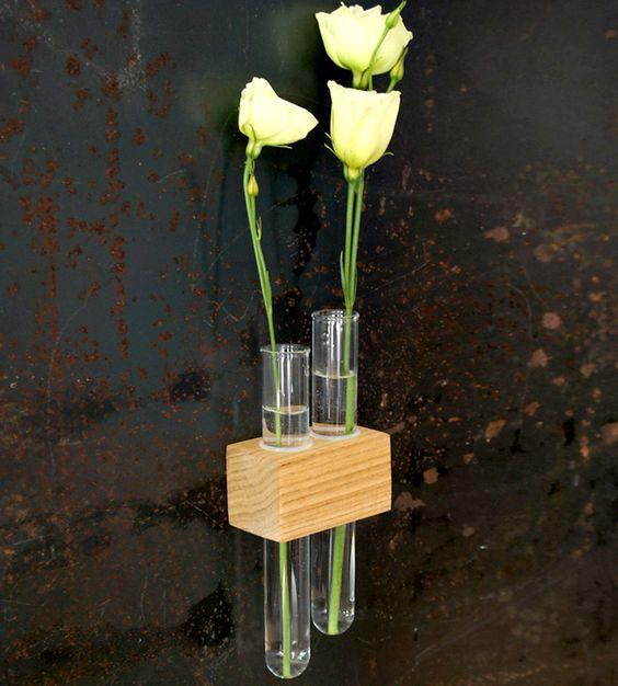 Flower glasses and magnets on pinterest for Test tube flower vase rack