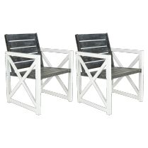 Aimee Wood and Steel Outdoor Chairs, Set of 2; Introducing new Spring products!