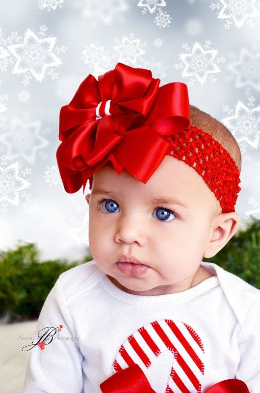 Beautiful Red Christmas layered Bow Headband or by IzzysCouture