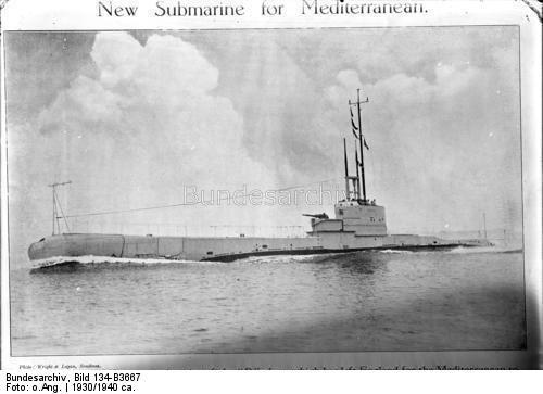 "Britisches Unterseeboot HMS ""Regulus"".- Stapellauf 11. Juni 1930, gesunken 6. Dezember 1940"