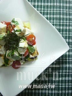 減肥食譜,早餐食譜-豆腐乳酪沙拉 義式Wasabi 醬