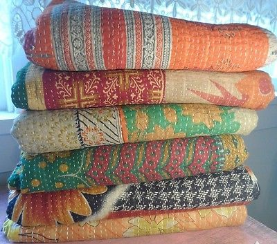 Vintage Kantha Quilts {Wholesale Lot} http://www.ebay.com/itm/271314424824?ssPageName=STRK:MESELX:IT&_trksid=p3984.m1555.l2649  These gorgeous pieces can be used as bedding, tapestries, table coverings, window treatments or as rugs. They can also be used to reupholster furniture or make clothing.