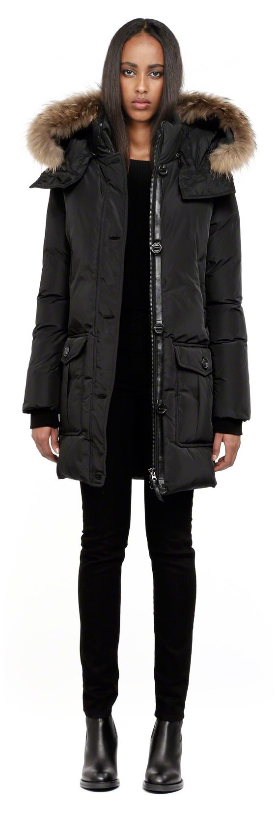 Mackage - CHASKA-F4 LONG BLACK DOWN PARKA COAT FOR WOMEN WITH
