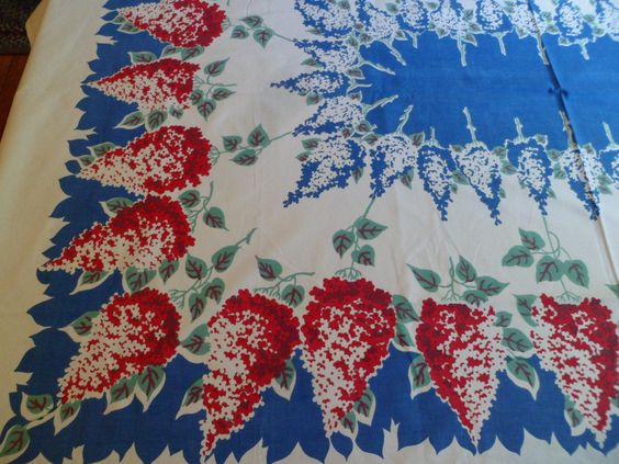"""Vintage 1940s Lilacs Floral Tablecloth 54 x 72-1/2"""" Perfect for Large Table! by…"""