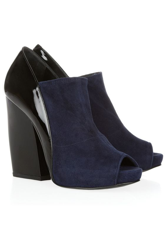Pierre Hardy|Glossed-leather and suede ankle boots|NET-A-PORTER.COM