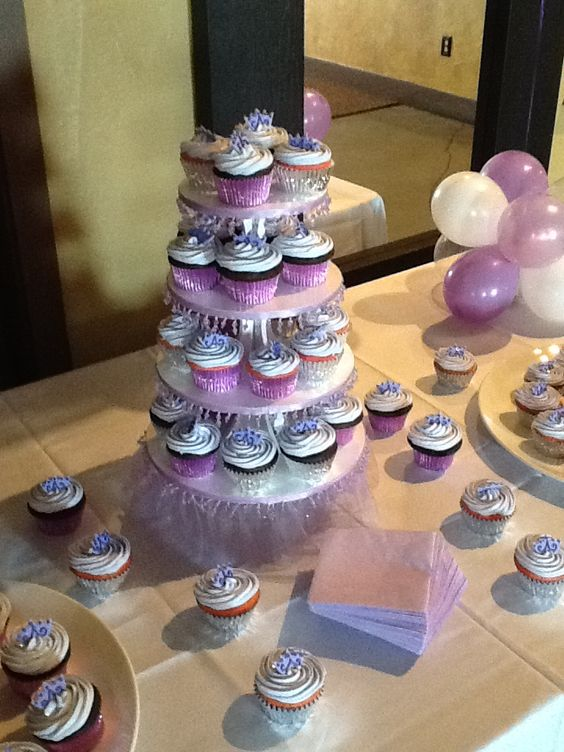 lavender princess cupcakes for baby shower diy cupcake stand decorations dessert table baby. Black Bedroom Furniture Sets. Home Design Ideas