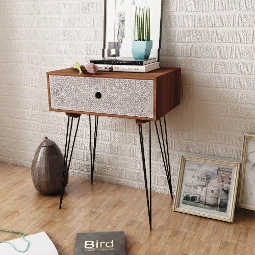 Vintage Bedside Table Rectangular Retro Night Stand Furniture Home