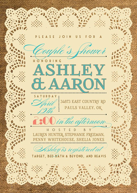 Vintage shower invite
