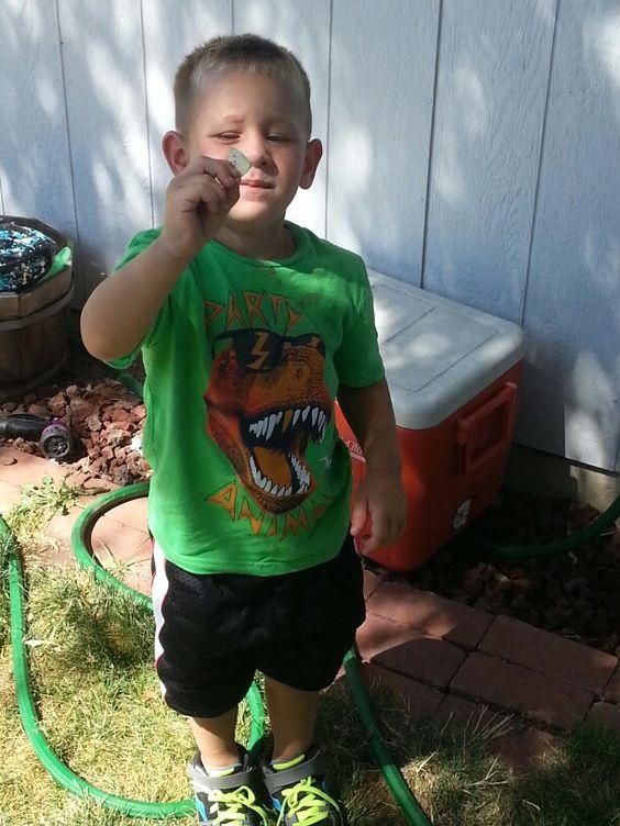 Mason caught a butterfly