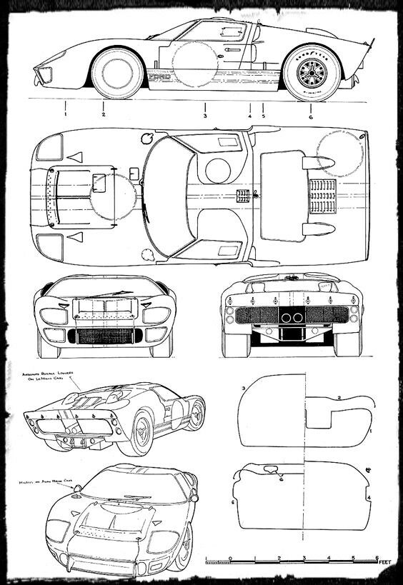 Gt40 Blueprint Ford Gt Ford Gt40 Car Drawings