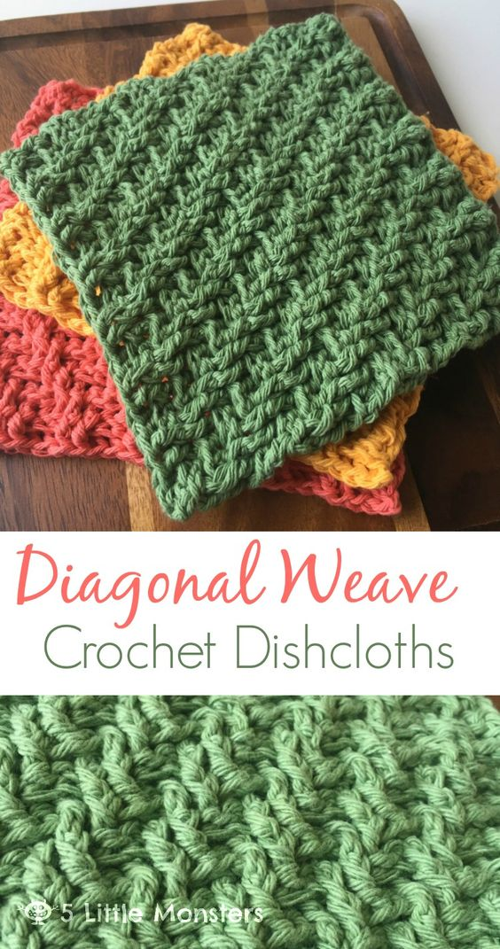 5 Little Monsters: Diagonal Weave Crochet Dishcloths: