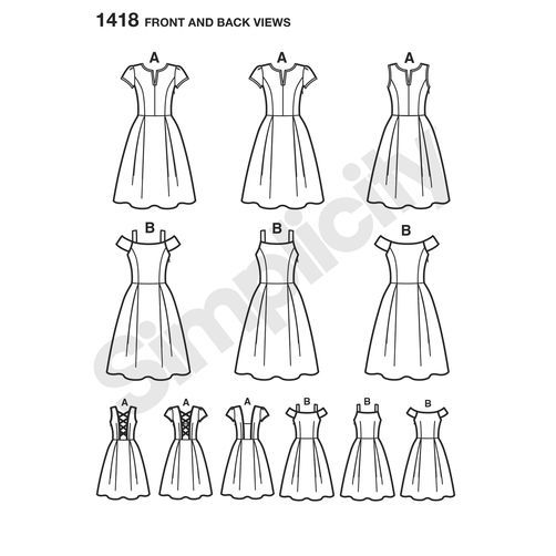 Misses' Dress with Bodice Variations: