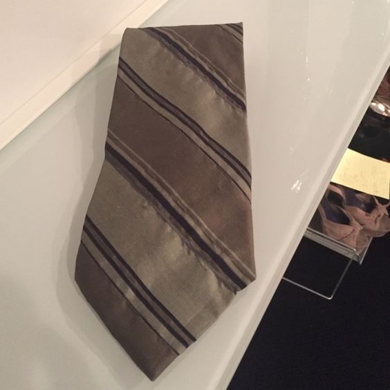 Donna Karan grey striped tie Donna Katan gray and brown with blue striped silk tie with wrinkle detail. Donna Karan Accessories Ties