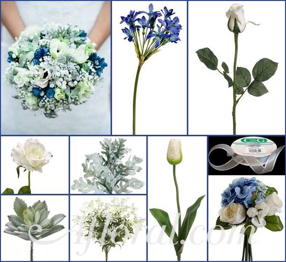 Blue & Silver Winter Wedding Flowers, Winter Wedding Bouquet, Silk Wedding Flowers, DIY Wedding Flowers, Afloral.com http://www.afloral.com/Silk-Flowers-Artificial-Flowers-Fake-Flowers?search=blue