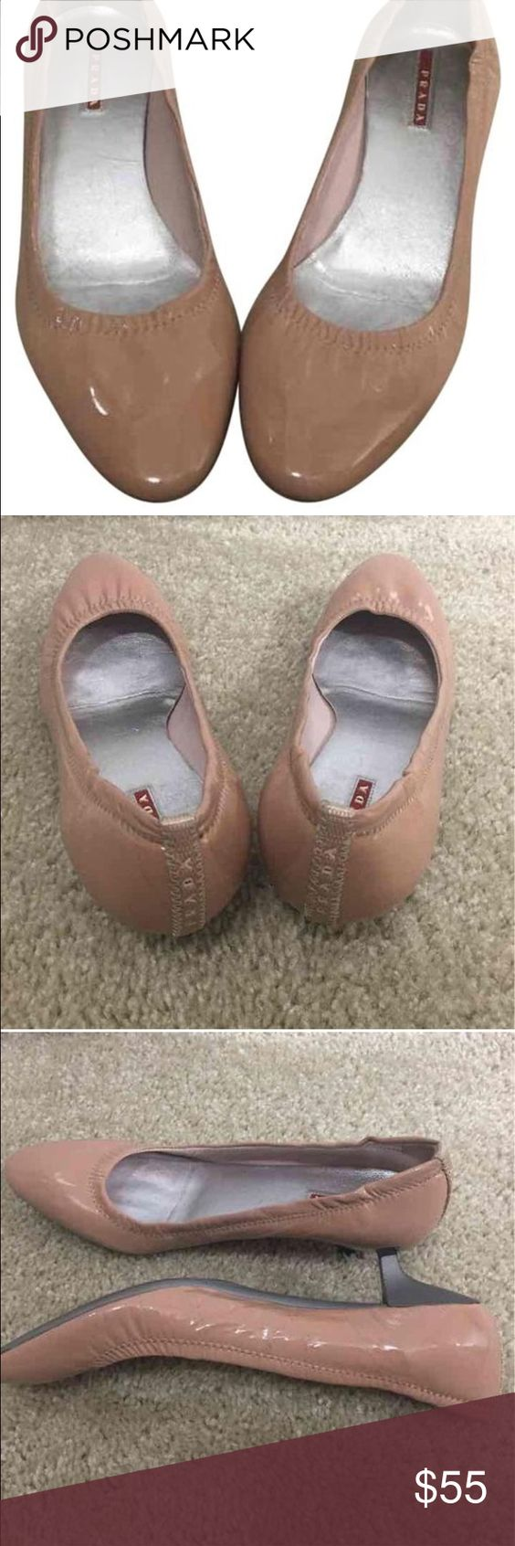 Prada Shoes Patent leather.Has marks on left shoe as seen in pics but not too visible when worn.Super comfy shoes Prada Shoes Heels