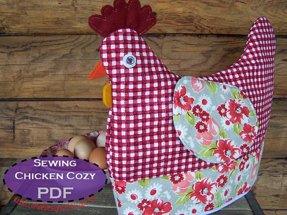 Chicken Tea Cozy PDF Sewing pattern - muffin cozy, cookie cozy, egg cozy... i...