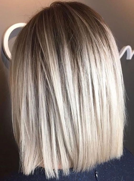 Shoulder Length Blunt Long Bob Ice Blond Lob Balayage Straight