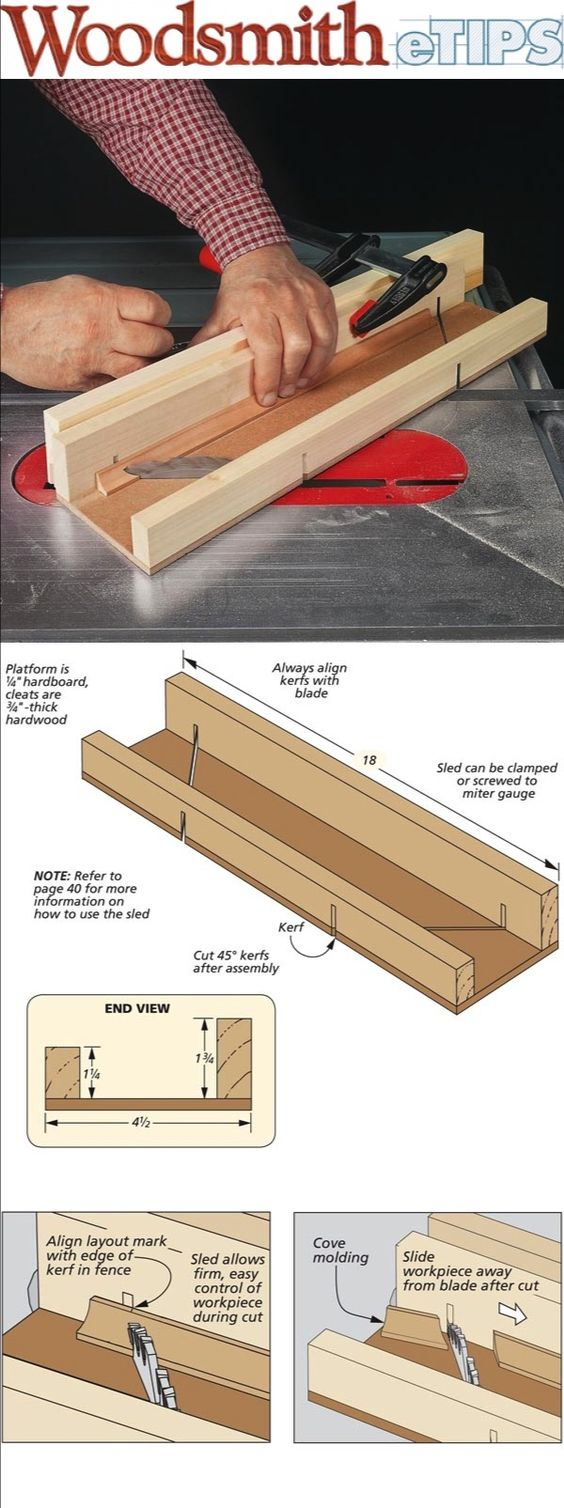 Cutting accurate miters on the table saw is always a challenge. But when you're mitering small, fragile pieces of molding that highlight a project, the difficulty factor increases. Due to the small size, the moldings can be difficult to hold on to safely.