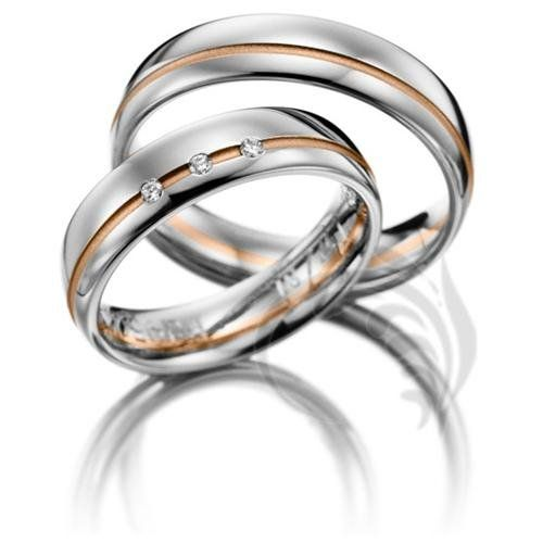 14k White and Rose Gold His and Hers Matching Wedding Rings 015 Carats 5 5mm