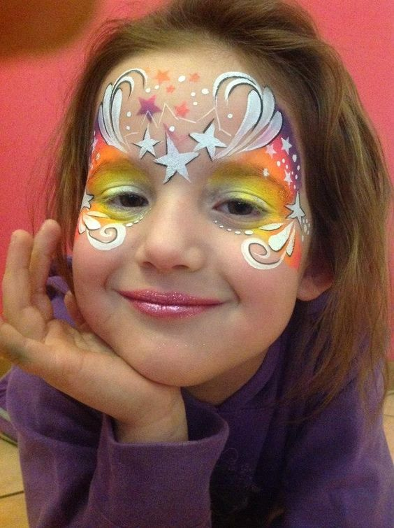Gorgeous star face painting!! Inspired by a video tutorial Heather Green did on YT