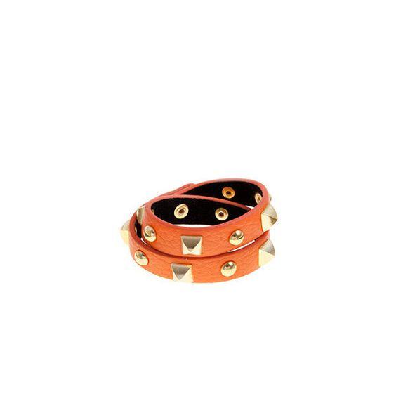 Orange Studded Wrap Bracelet ($8.03) ❤ liked on Polyvore