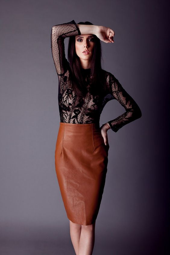 Camel Leather Skirt | Jill Dress
