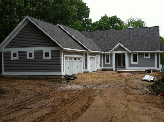 Granite white trim and grey siding on pinterest for Grey vinyl siding colors