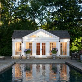 Pool and garage with pool house feel french door opening (Northworks Architects and Planners)