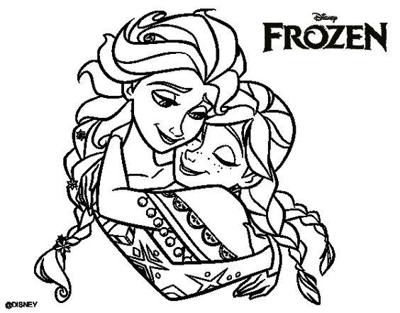 Dibujo de Frozen Elsa y Anna para colorear