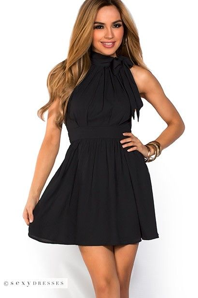 Estelle&quot Black Fit and Flare Chiffon Halter Party Dress  Black ...