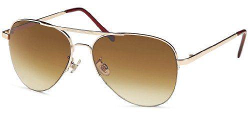 Sonnenbrille, Pilotenbrille mit Gradient-Verlaufsgläsern messing gold Rahmen Fliegerbrille aviator Sonnenbrillen 2014 + Feinzwirn Microfaser Brillenbeutel
