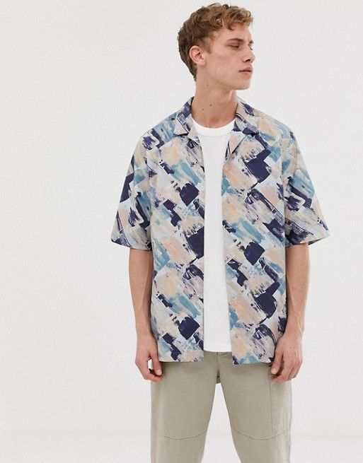 Asos White Shirt In Watercolor Print With Half Sleeve Asos 2020