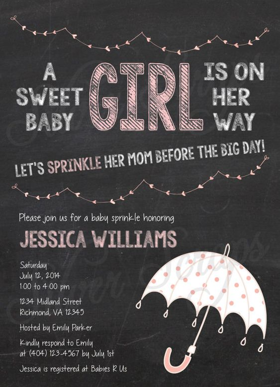 Chalkboard, Bunting and Pink Rainclouds Custom Girl Baby Sprinkle Shower Invitation - Rain Umbrella Raindrops Drops Clouds - 5 DIY Designs