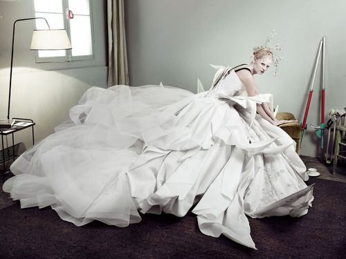 """Lara Stone in  John Galliano for Christian Dior and for his eponymous brand """"John Galliano"""" Vogue UK May 2007"""