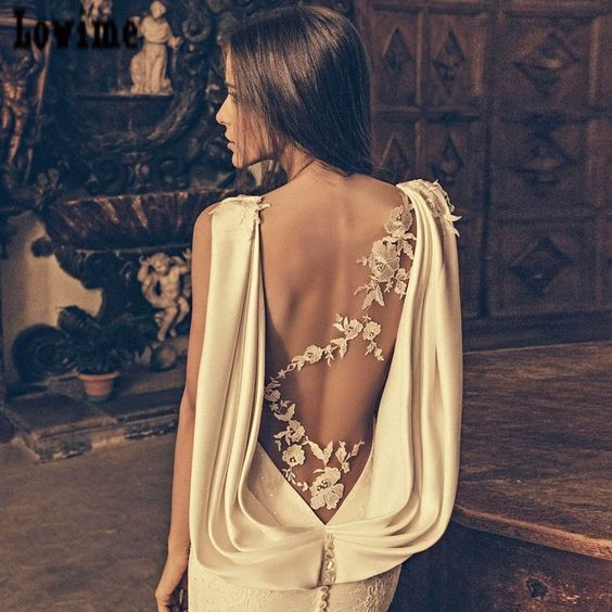 Vestido Festa Curto Sheer Crew Neck Lace Cheap Mermaid Boho Wedding Dresses with Drapped Cowl Backless Detail Bridal Gowns 2016 Hot Gelinlik