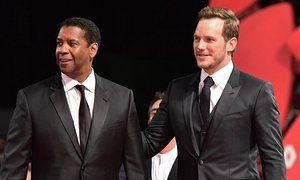 Denzel Washington and Chris Pratt at The Magnificent Seven premiere in Venice.